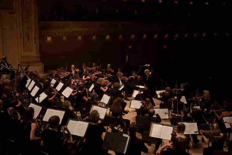 The full Revolutionary and Romantic Orchestra on stage, playing Beethoven at Carnegie Hall.