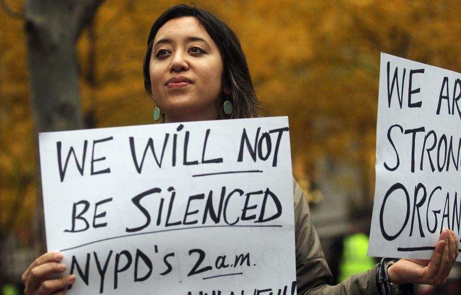 Protester Leina Bocar stands outside Zuccotti Park after police removed the Occupy Wall Street protesters from the park early this morning.