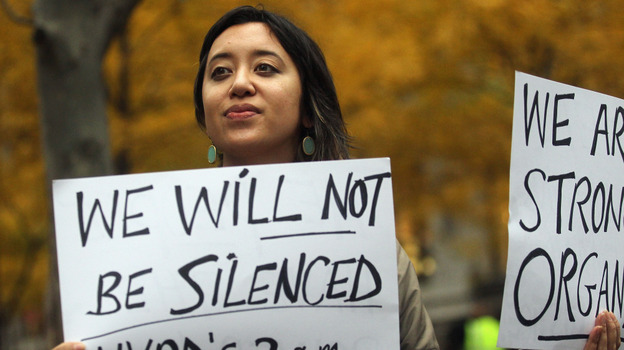 Protester Leina Bocar stands outside Zuccotti Park after police removed the Occupy Wall Street protesters from the park early this morning. (Getty Images)