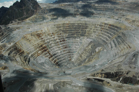 Critics accuse Freeport-McMoRan not only of underpaying workers but also of destroying the environment in remote Papua and of decades of complicity in human rights abuses by the Indonesian military. Here, an aerial photograph of the Grasberg mining complex.
