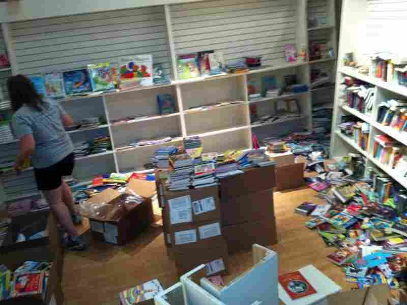 Getting organized: The children's section gradually takes shape.