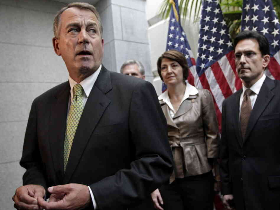 House Speaker John Boehner (R-Ohio) and other Republican leaders on Tuesday in the Capitol.