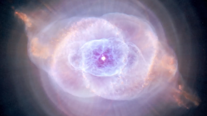 Traveling through space, we encounter a spiral galaxy and Hubble's orbiting guitar wizardry.