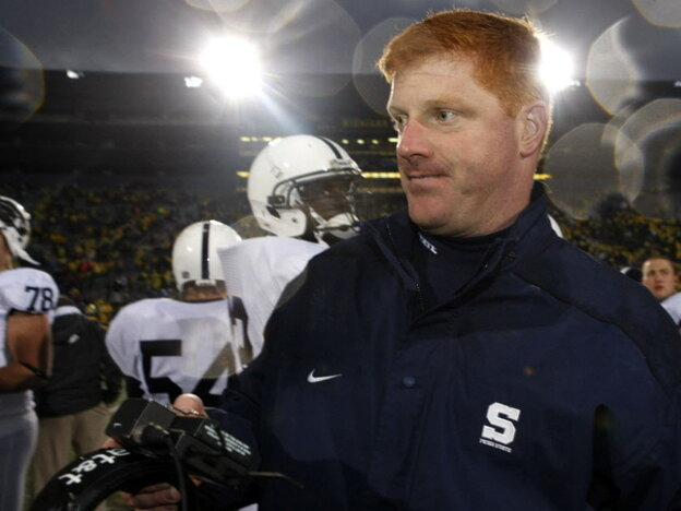 Mike McQueary during a Penn State football game in 2009.