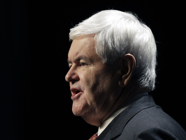Newt Gingrich at the Iowa Republican Party's Ronald Reagan Dinner in Des Moines, Nov. 4, 2011.
