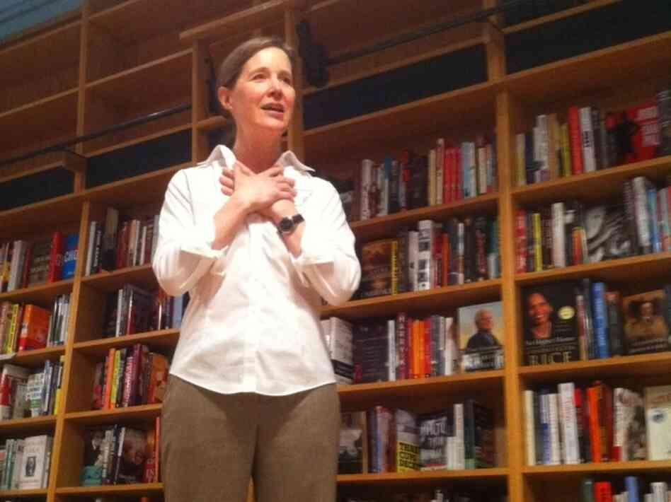 "Novelist Ann Patchett greets some of her first customers at Parnassus Books in Nashville. ""I actually think this is going to go really, really well,"" she says."