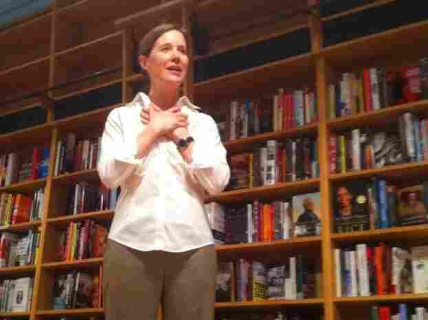 """Novelist Ann Patchett greets some of her first customers at Parnassus Books in Nashville. """"I actually think this is going to go really, really well,"""" she says."""
