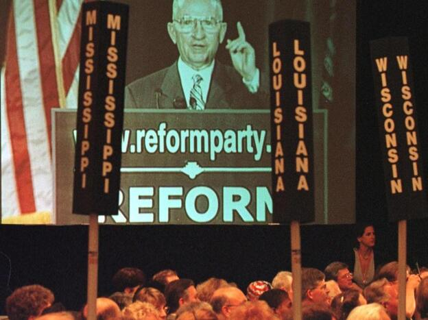 Ross Perot, shown on a video screen, addresses the Reform Party's national convention in July 1999 in Dearborn, Mich. The billionaire founder of the Reform Party, Perot ran for president as a third-party candidate in both 1992 and 1996.