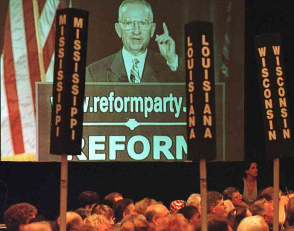 Ross Perot, shown on a video screen, addresses the Reform Party's national convention in July 1999 in Dearborn, Mich. The billionaire founder of the Reform Party, Perot ran for president as a third-party candidate in both 1992 and 1996