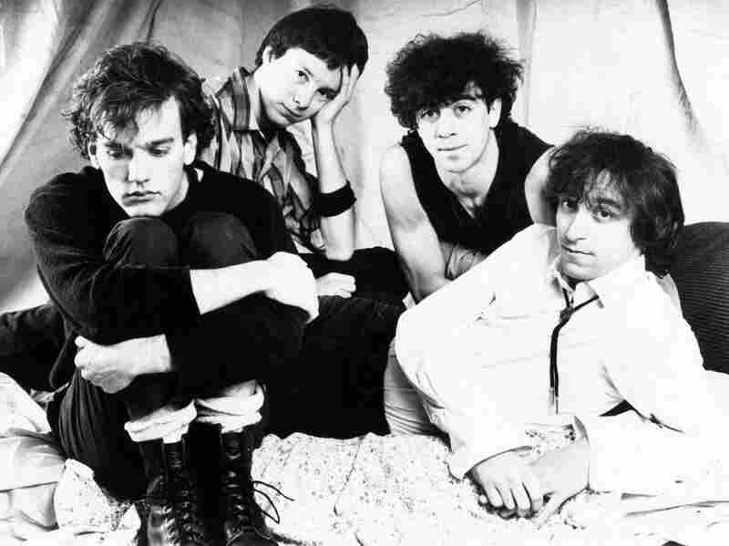 R.E.M. in the early days. Left to right: Michael Stipe, Mike Mills, Bill Berry, Peter Buck.