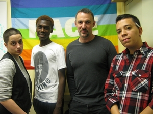 Tiffany Cocco (left to right), Jeremiah Beaverly, Carl Siciliano and Avi Bowie hang out at the Ali Forney Center in Manhattan.