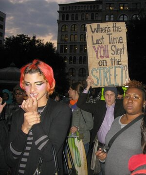 LGBT youth gathered in Union Square in late October to protest New York City's policies toward the homeless.