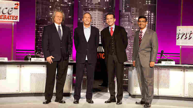"""A.C. Grayling (from left), Matthew Chapman, Rabbi David Wolpe and Dinesh D'Souza faced off on the motion """"The World Would Be Better Off Without Religion."""""""