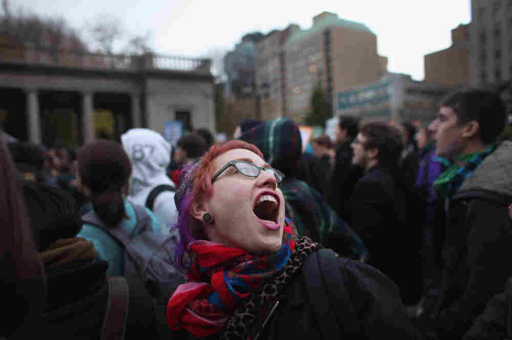 A large gathering of protesters affiliated with the Occupy Wall Street Movement attend a rally in Union Square in New York City.