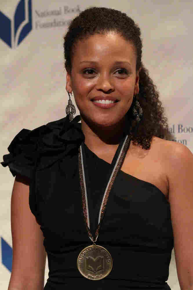 Jesmyn Ward, winner of the National Book Award for Fiction for her book Salvage the Bones, poses at the National Book Awards Wednesday night.