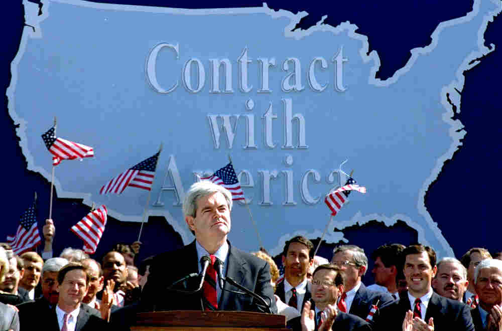 """In September 1994, then-House Minority Whip Newt Gingrich addressed Republican congressional candidates on Capitol Hill during a rally where they pledged a new """"Contract with America."""" Months later, Republicans gained control of both houses of Congress for the first time in decades, and Gingrich became speaker of the House."""