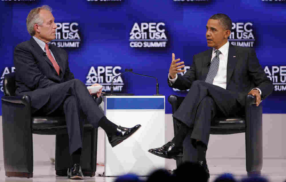 President Obama and W. James McNerney, Jr., Boeing's CEO at APEC in Honolulu, Nov. 12, 2011.