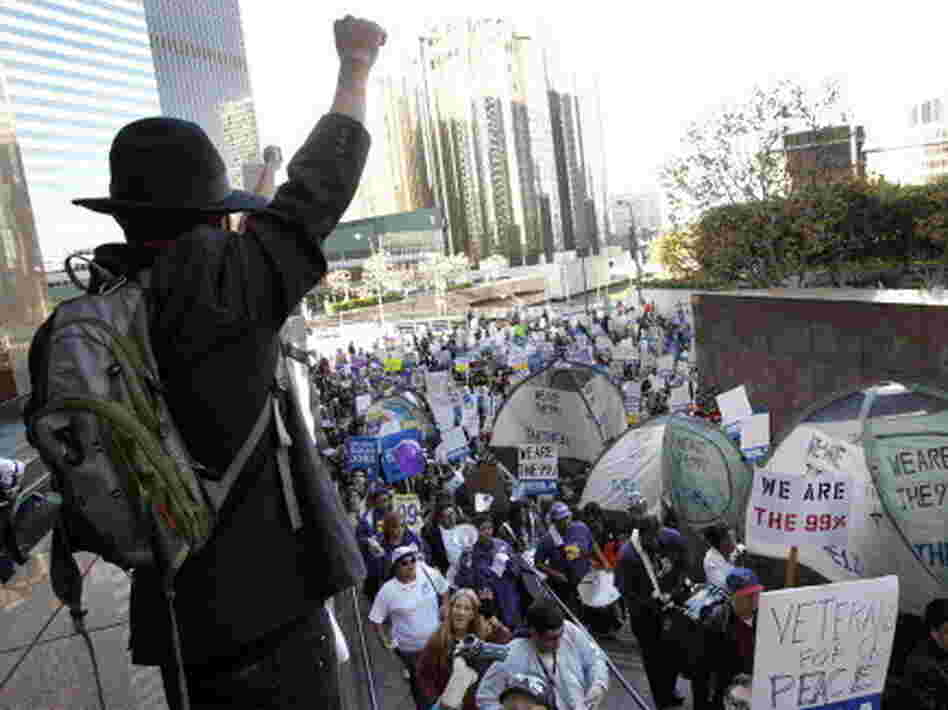 In Los Angeles today: Occupy protesters march.