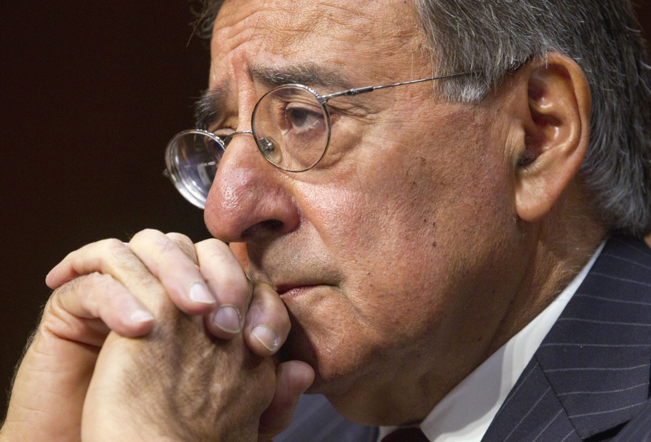 Defense Secretary Leon Panetta testifies on Capitol Hill on Nov. 15. Debate over Pentagon spending cuts is heating up as a bipartisan congressional panel tries to come up with a plan to cut the federal deficit.  (Evan Vucci/AP)