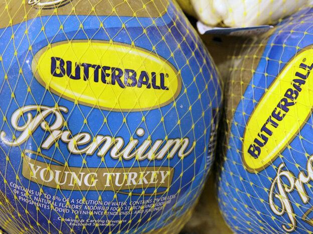 Butterball frozen turkeys on display in a supermarket in Ohio.