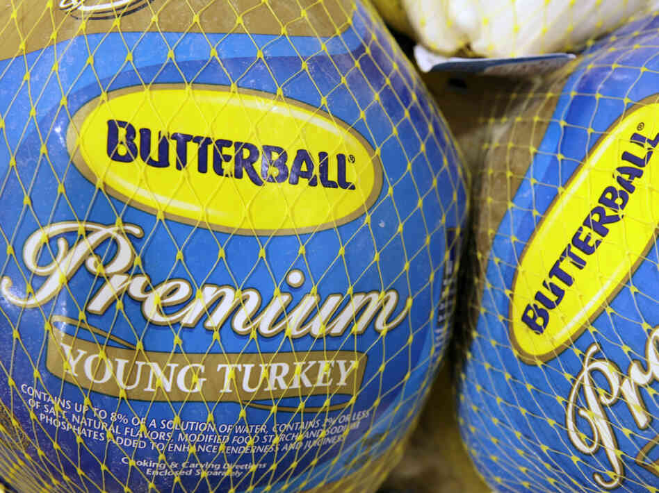 Butterball frozen turkeys on display in a supermarket in Ohio.