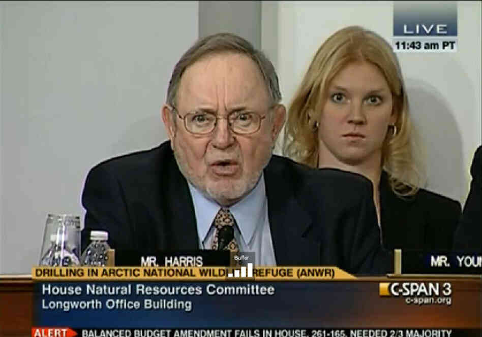 Rep. Don Young (R-AK) during his verbal, mutual smackdown with Rice University historian Douglas Brinkley. A stunned aide watches from behind the congressman.