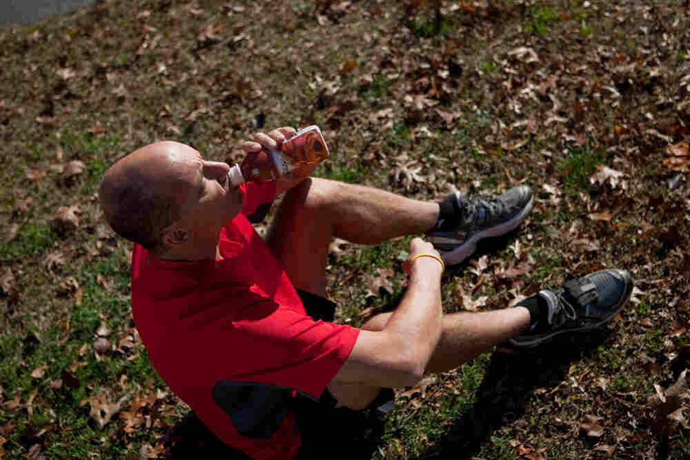 Dan DiFonzo uses chocolate milk to refuel after running.