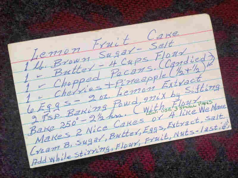 Linda's father wrote the recipe for lemon fruitcake on the front of this index card.