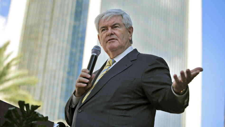 Republican presidential candidate Newt Gingrich, the former House speaker, speaks to supporters during a rally in Jacksonville, Fla., on Thursday.