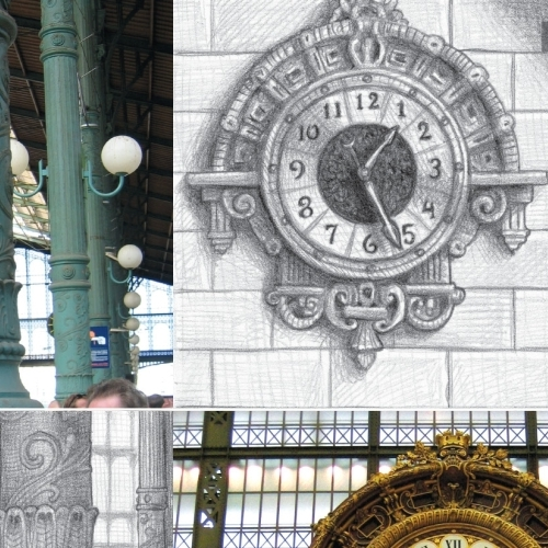 Stills from Hugo run alongside Brian Selznick's drawings of the Gare du Nord and a clock from the Musee d'Orsay.
