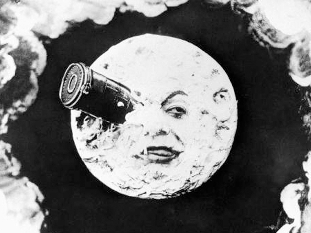 In Georges Melies' silent film A Trip to the Moon, a group of astronomers travels to the moon in a giant bullet.