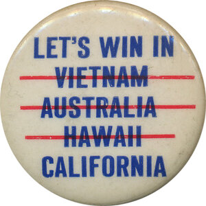 What's a domino theory button without Australia?