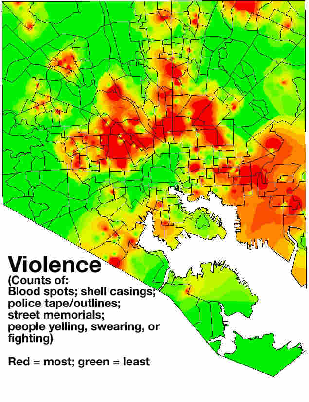 Addicts' movements around Baltimore are mapped onto images like this, showing levels of violence in each neighborhood. Other maps track things like visible drug use and vacant housing — all factors that may contribute to an addict's decision to use drugs.