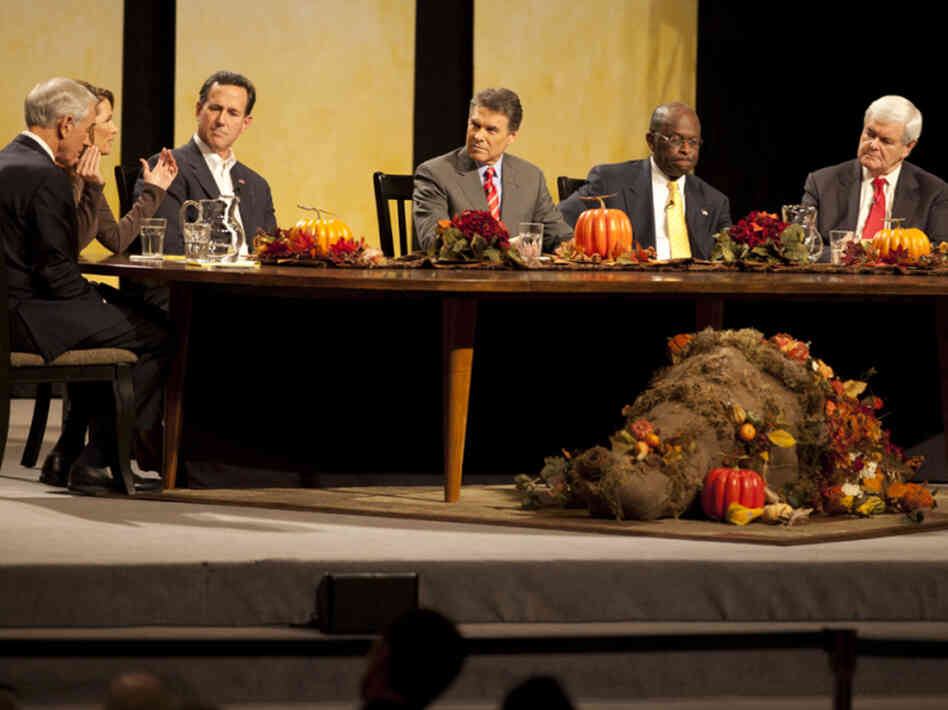 "Republican presidential candidates at the ""Thanksgiving Family Forum"" in Des Moines on Nov. 19, 2011."