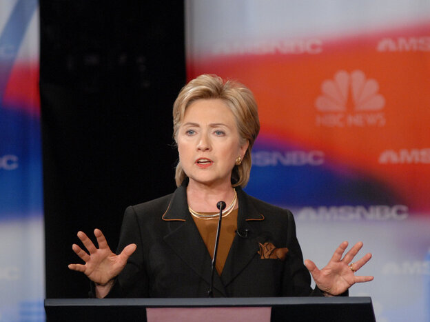 """Hillary Clinton's """"inevitability"""" became less certain after a debate in Philadelphia at Drexel University in October 2007."""