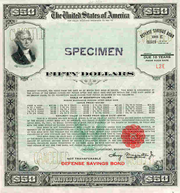 In 1941, the defense savings bond was introduced months before the U.S. entered the war. President Roosevelt promoted the new bonds on the radio and made the first purchase himself.