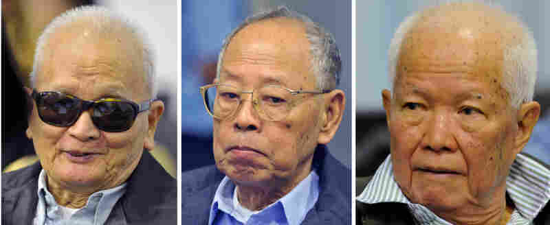 The three former Khmer Rouge leaders who went on trial Monday in the Cambodian capital Phnom Penh, from left to right: Nuon Chea, the Khmer Rouge's former chief ideologist, Ieng Sary, former foreign minister, and Khieu Samphan, former head of state.