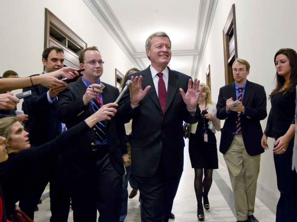 Senate Finance Committee Chairman Sen. Max Baucus, D-Mont., a member of the congressional supercommittee on the deficit, fends off reporters as he arrives to meet in the Capitol Hill office of Sen. John Kerry, D-Mass., on Monday. (AP)