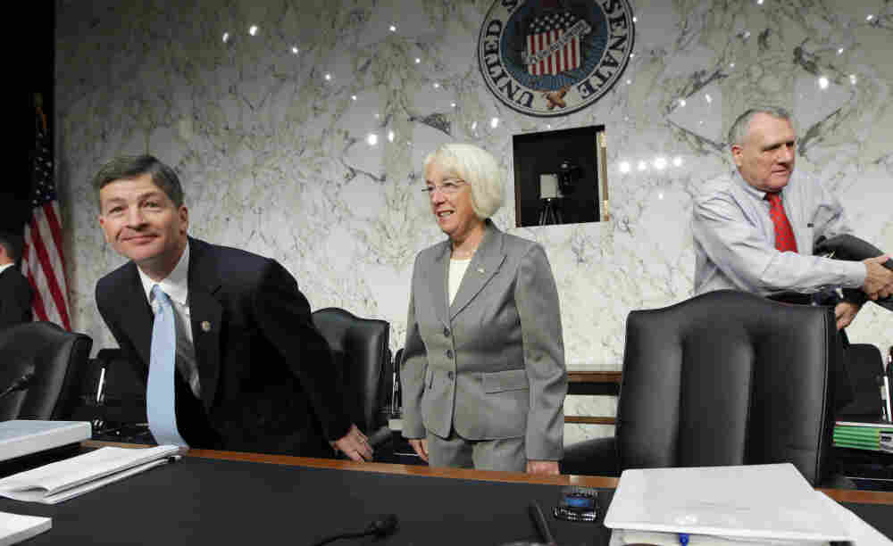 Rep. Jeb Hensarling, R-Texas, left, and Sen. Patty Murray, D-Wash., center, co-chairs of the Joint Select Committee on a Deficit Reduction, with Sen. Jon Kyl, arrive for a Sept. 2011 meeting,