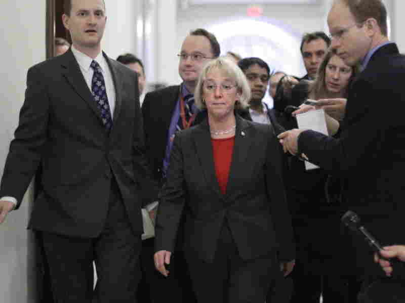 Democratic Sen. Patty Murray, the supercommittee co-chairwoman, arrives to meet in the Capitol Hill office of Democratic Sen. John Kerry with other members of the deficit reduction panel on Monday.