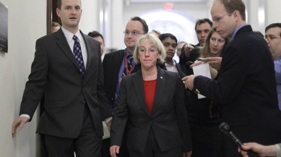 Democratic Sen. Patty Murray, the supercommittee co-chairwoman, arrives to meet in the Capitol Hill office of Democratic Sen. John Kerry with other members of the deficit reduction panel on Monday.  (AP)
