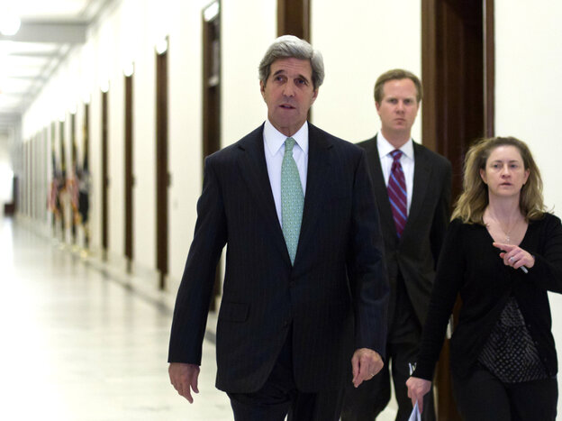 Supercommittee member Sen. John Kerry, D-Mass., prepares Monday to speak with reporters in Washington as the deficit reduction panel's mandate ends in failure.