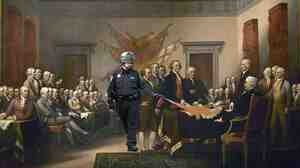 "Spraying the Declaration of Independence (John Trumbull's ""Declaration of Independence"")."