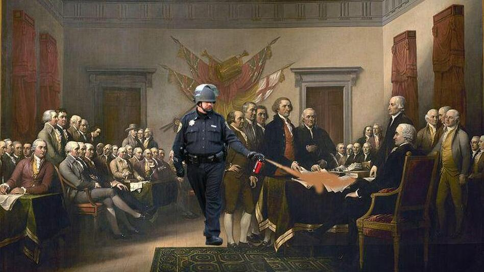"Spraying the Declaration of Independence (John Trumbull's ""Declaration of Independence""). (jockohomo.tumblr.com)"