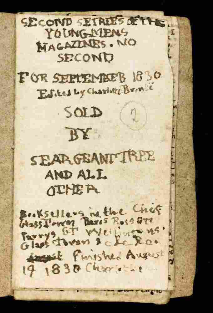 """A detail from """"The Young Mens Magazine,"""" a manuscript created by the Bronte sisters for their imaginary world."""