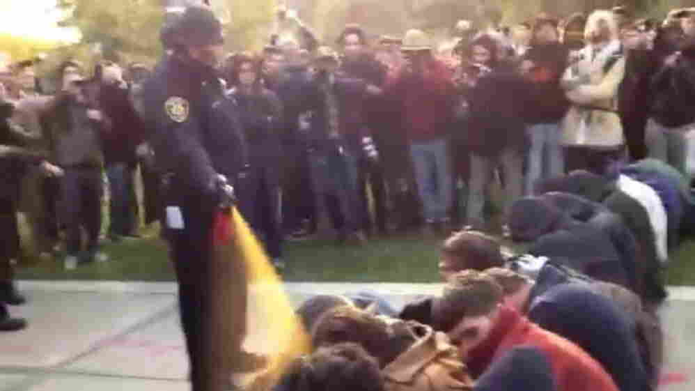 In this image made from video, a police officer uses pepper spray as he walks down a line of Occupy demonstrators sitting on the ground at the University of California, Davis on Friday, Nov. 18, 2011.