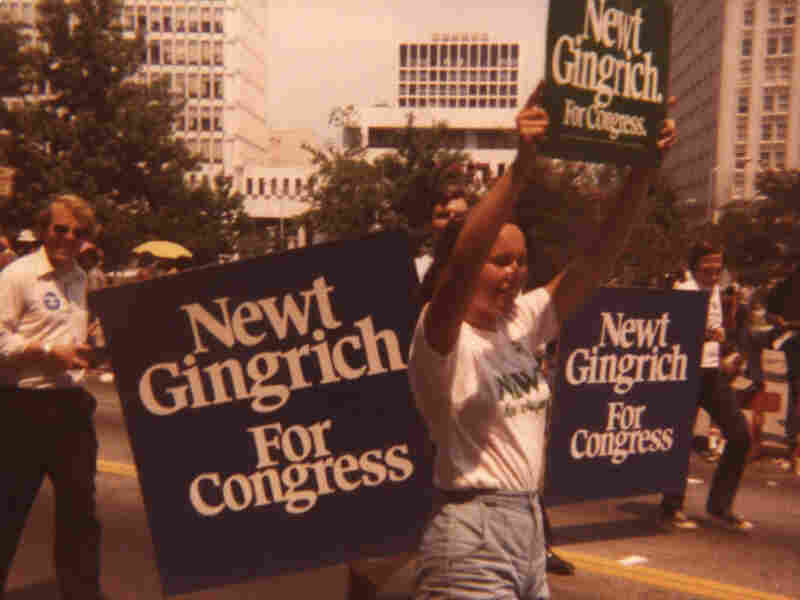 Newt Gingrich's daughter Kathy marches in a campaign rally with supporters for his 1978 run for Congress. He won that race and served in the U.S. House for 20 years, including four as speaker.