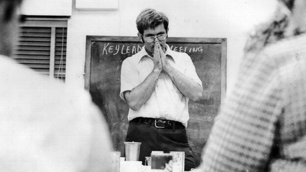 Newt Gingrich is shown teaching a class at West Georgia College (now known as the University of West Georgia) in the 1970s. As a politician, he has long stressed his background as a scholar.