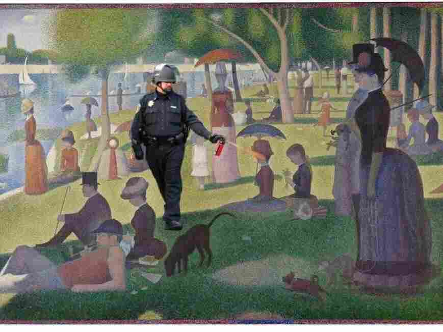 """Spraying in the park (""""A Sunday Afternoon on the Island of La Grande Jatte"""" by George Seurat)."""