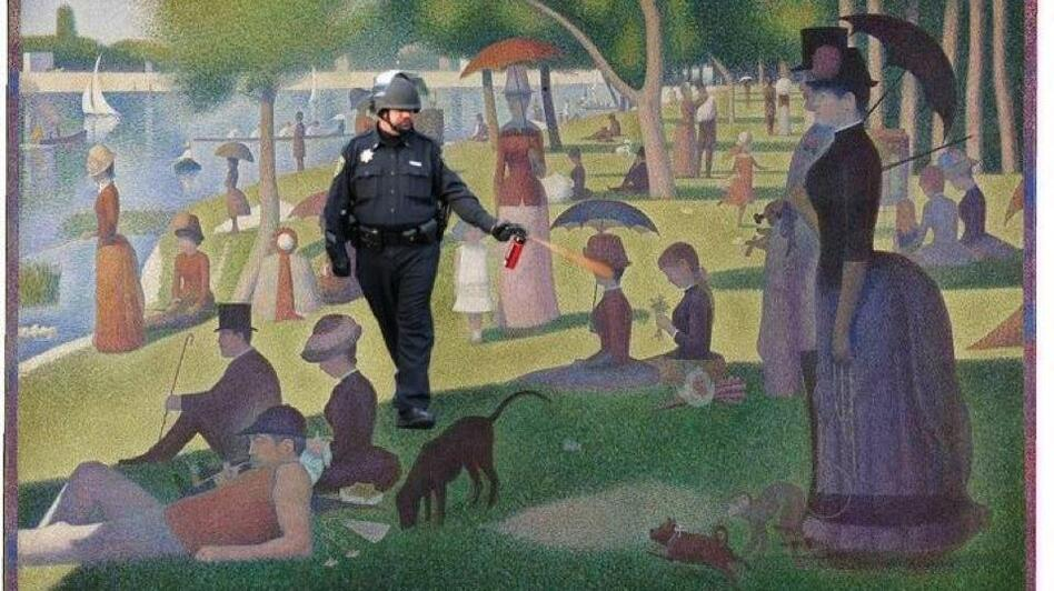 "Spraying in the park (""A Sunday Afternoon on the Island of La Grande Jatte"" by George Seurat). (jockohomo.tumblr.com)"